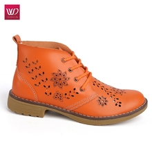 Vivident 2017 Genuine Summer Leather Ankle Boot For Women Brogue Lace up Superstar Platform Shoes Flat Fashion Classic Casual