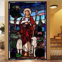 Custom size Self Adhesive window Glass Films sticker paper Door Stickers Vintage European Style Translucent Jesus Christ N115