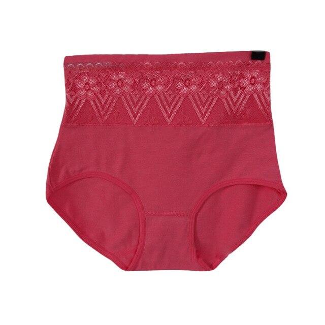 b1bd889aa43 Encaje applique algodón yardas grandes de las mujeres Ropa interior alta  cintura y abdomen de las