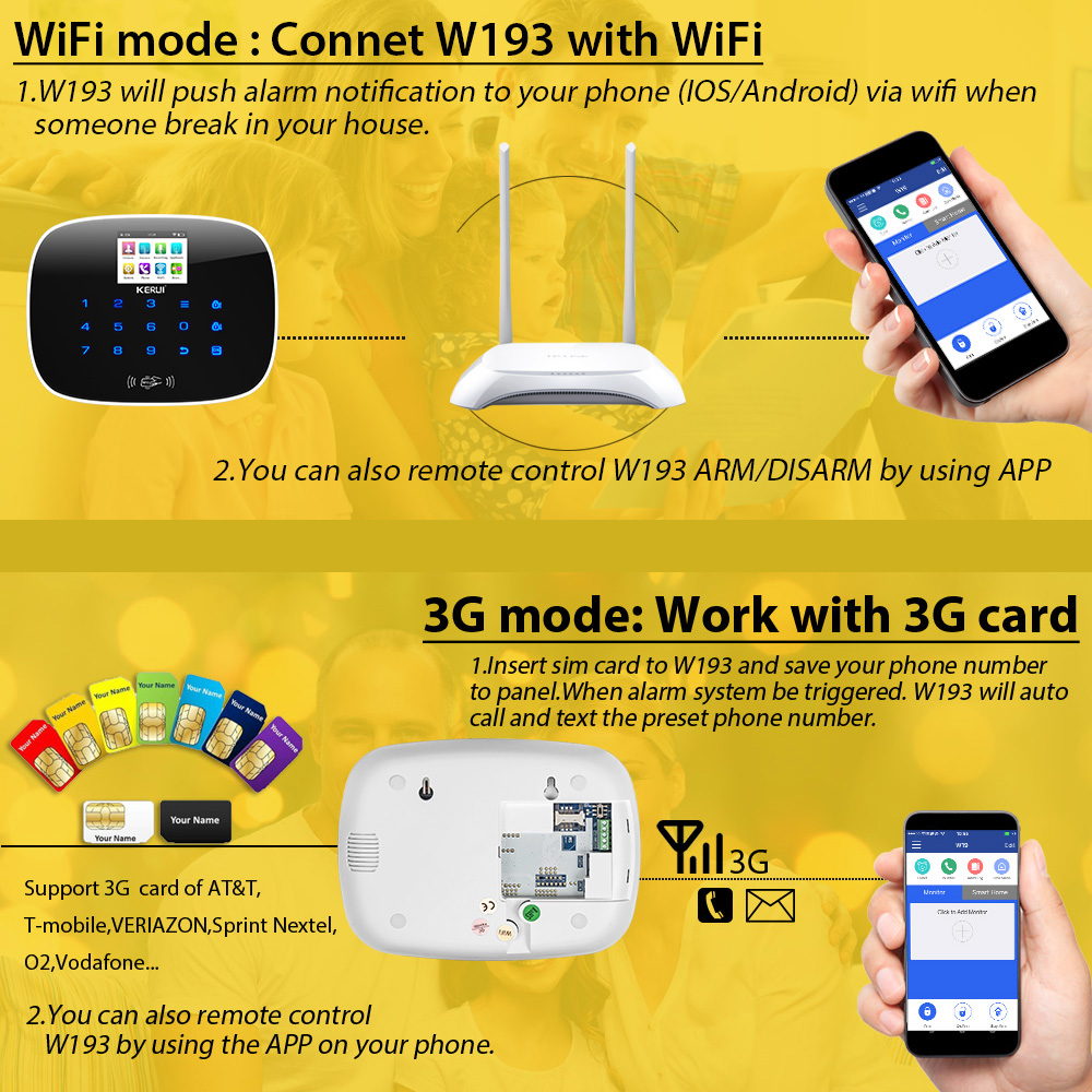 KERUI W193 Drahtlose WCDMA 3G APP Fernbedienung Touchscreen Alarme WIFI PSTN GSM Smart Home Einbrecher Sicherheit Alarm system Sets