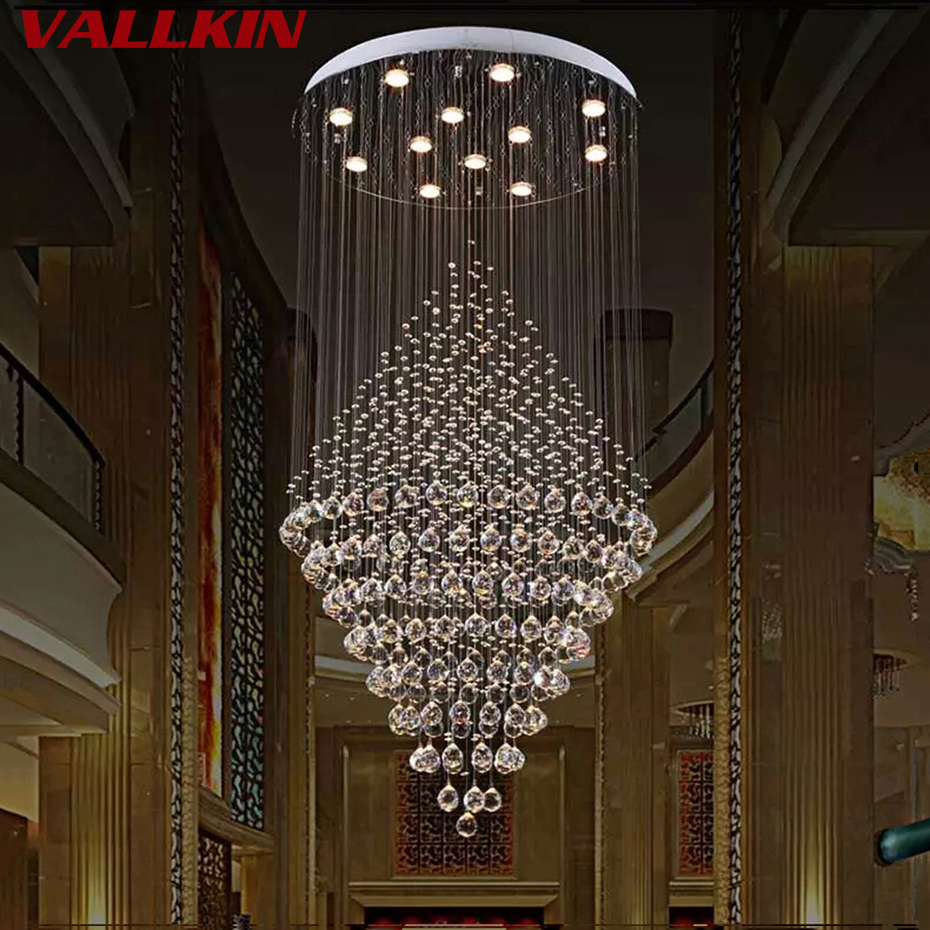 Modern luster crystal chandeliers lighting fitting double staircase modern crystal chandelier lighting luxury chandeliers lamp hanging light lustres de cristal lamp hotel suspension lamps arubaitofo Choice Image
