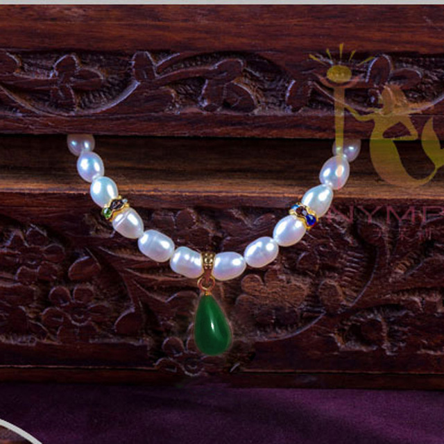 Jade NYMPH 100% natural pearl necklace jewelry,2015 new fine real pearl Collar chunky necklaces for women PJXL105115B