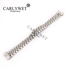CARLYWET 20mm 316L Stainless Steel Jubilee Silver Solid Screw Links Wrist Watch Strap With Curved End Bracelet Belt