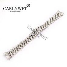 CARLYWET Bracelet de montre en acier inoxydable 316L, maillons à vis solides, 20mm, avec extrémité incurvée, ceinture dargent