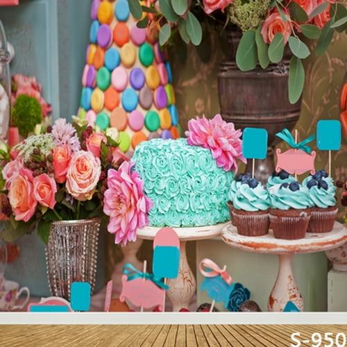 8x8ft Blumen Topf Blauen Kuchen Eis Candy Baby Dusche Kids Kinder Benutzerdefinierte Foto Hintergrund Studio Hintergrund Vinyl 10x10 8x12 QualitäT Zuerst