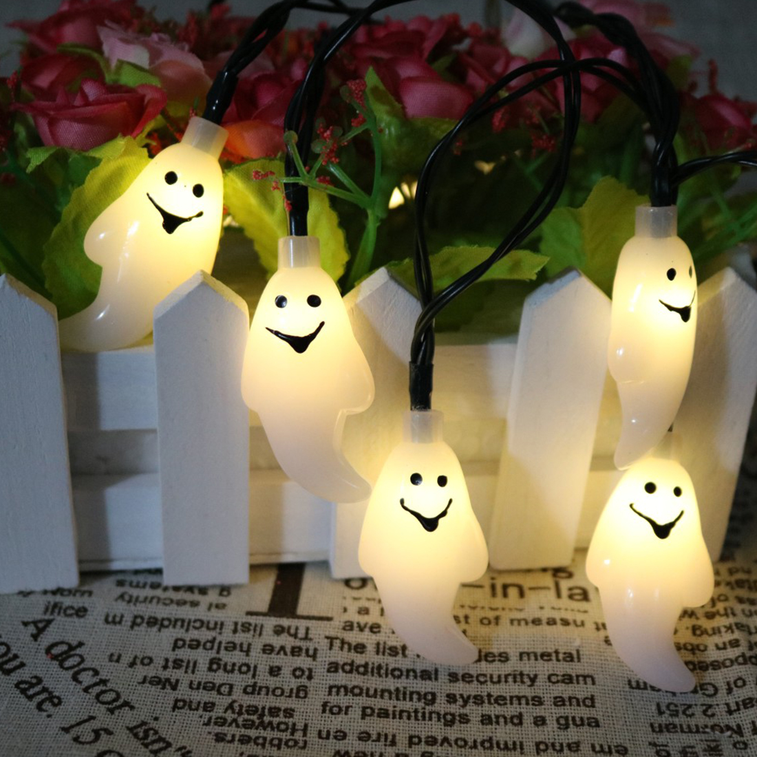 Hot New 10 LED 1.5M Halloween Decor Ghost LED String Lights Lanterns Lamp for DIY Home Bar Outdoor Party Supplies