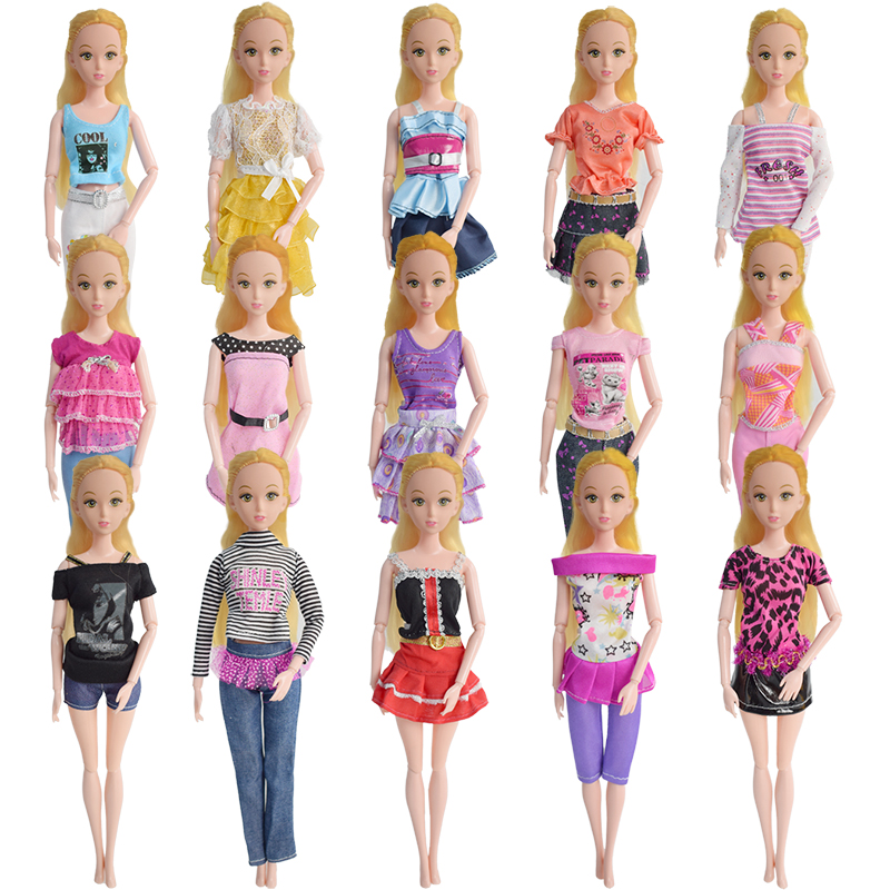 Random 10 Pcs Mix Barbie Doll Dress + 10 Pair Shoes Beautiful Fashion Party Outfit Clothes For Barbie Dolls Girl's Gift Toys аксессуары для косплея random beauty cosplay