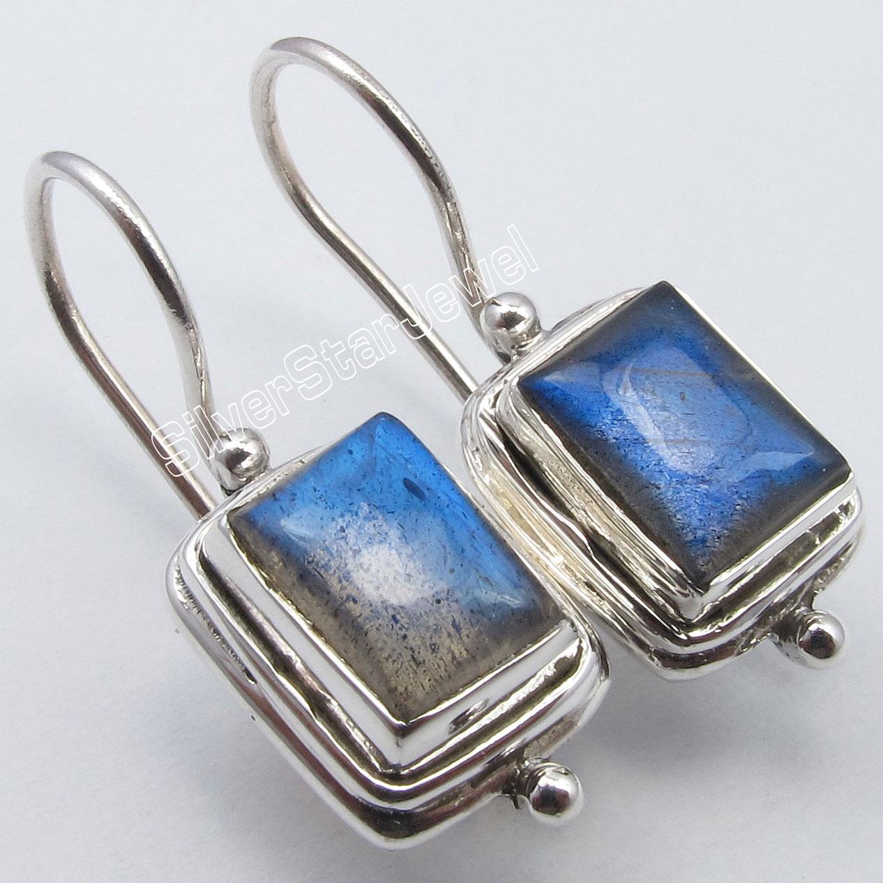 Chanti International Silver BLUE FIRE LABRADORITE Fix Wire Earrings 2.6 CM MADE IN INDIA