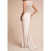Sunvary Sleeveless White Lace Sheath Bridal Dress V neck Summer Beach Wedding Dress Illusion Lace Long Wedding Party Dress