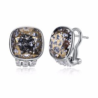 Fine Jewelry Made with Brown Swarovski Crystal Square Clip Earrings Real S925 Sterling Silver Earrings with CZ for Women Gift