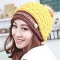 2016 New Winter Rabbit Fur Hat for Women PomPom Plain Skull Beanies Knitted Ski Caps Adult Warm Hats Beanie 50 CM To 55 CM L32