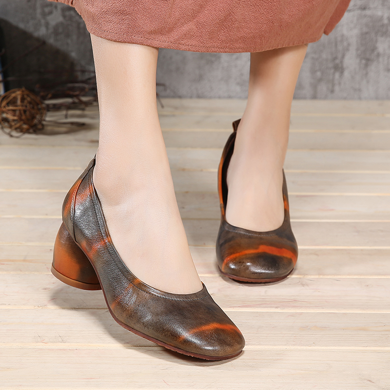 VALLU 2018 Spring Shoes Genuine Leather Women Pumps Round Toes Mixed Color Comfortable Soft Women High