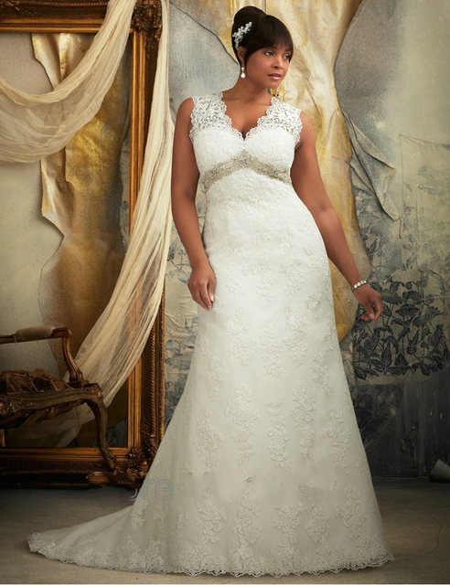 Keyhole Back Court Train Full Lace Plus Size Wedding Dress Empire Waist For Older Brides Mom