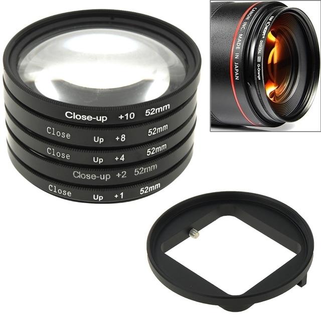 6 in 1 52mm Close-Up Lens Filter Macro Lens Filter + Filter Adapter Ring for GoPro HERO4 /3+