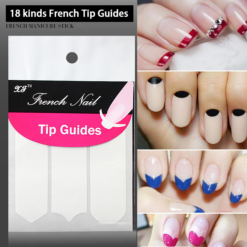 18 pcs(shapes)/lot French Manicure Tip Guides 18 Kinds Smile Lines ...