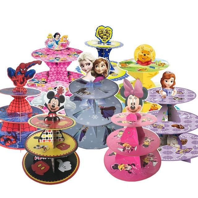 US $9.3 5% OFF|1 set Mickey Maus Minnie Maus Kinder Geburtstag Party  Dekoration 3 tier Kuchen Stehen Baby Dusche Liefert Cupcake Stehen candy  Bar in 1 ...
