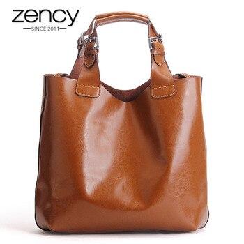 Vintage Solid High Quality Genuine Leather Women Handbag Ladies Tote Shopper Shoulder Messenger Bags Famous Brand Designer Purse grande bolsas femininas de couro