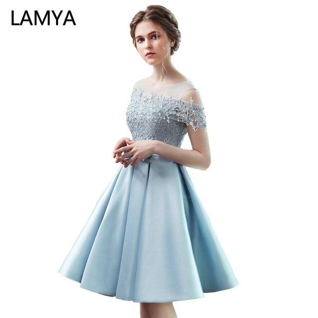 LAMYA 2019 New Short Sation Prom Dress Simple Lace Boat Neck Formal Evening Party Dresses Custiom Size Vestido de Festa Curto 1