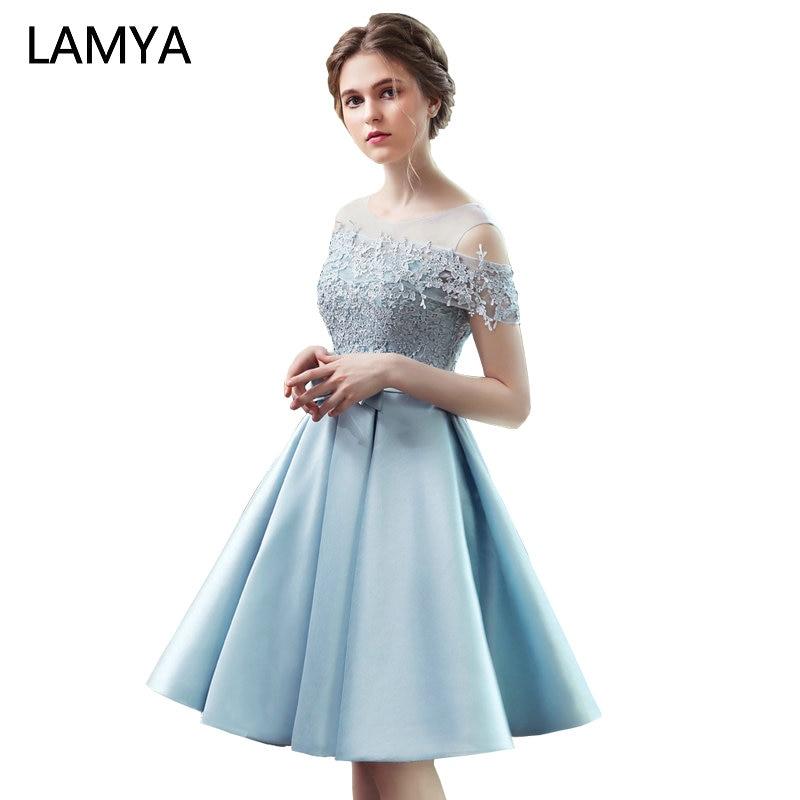 LAMYA 2018 New Short Sation   Prom     Dress   Simple Lace Boat Neck Formal Evening Party   Dresses   Custiom Size Vestido de Festa Curto