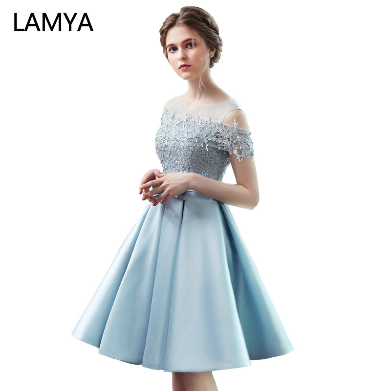LAMYA 2019 New Short Sation   Prom     Dress   Simple Lace Boat Neck Formal Evening Party   Dresses   Custiom Size Vestido de Festa Curto