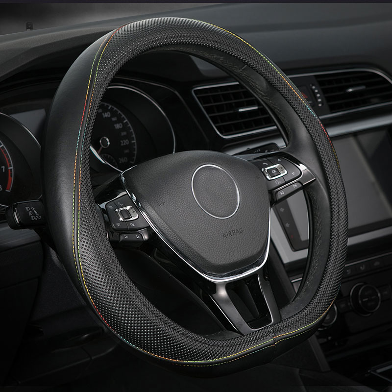 car steering wheel cover genuine leather accessories for Peugeot 301 3008 408 4008 508 5008 D shape flat plat bottom