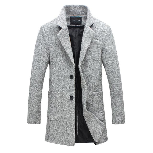 Dos homens novos do inverno de lã casaco de lã Dos Homens cultivar longa seção de jaqueta corta-vento ocasional longa seção de negócios dos homens roupas