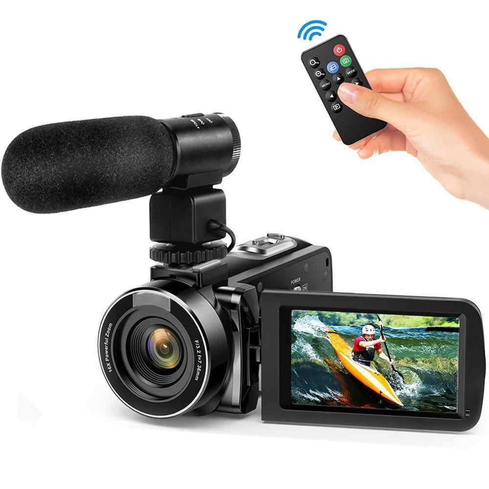 Night Vision 24MP HD 1080P LCD Touch Screen Video Camera 16X Zoom Digital Camcorder Remote Control Wide Angle Lens/Mic Cameras
