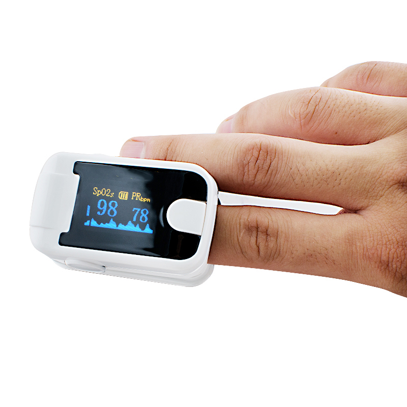 5 PC Finger Pulse Oximeter With Audio Alarm & Pulse Sound  Finger Clip SPO2 PR Small OLED Display Blood Oxygen Meter White