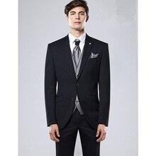 2017 Mucielee Terno Masculino Blazer costume homme black Mens Prom Suit Wedding Suits For Men 3 Pieces (jacket+pants+grey Vest)