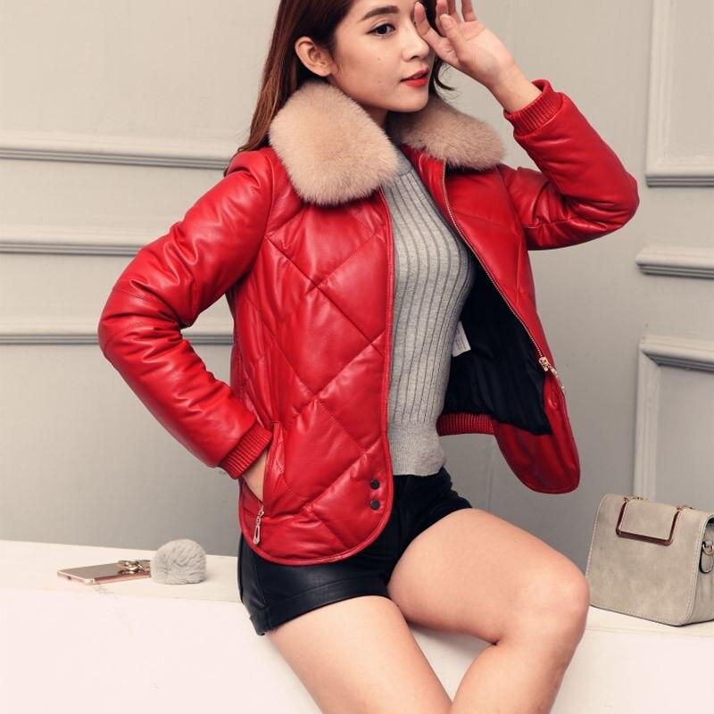Chaudes Manteau Veste Black Nouvelle Col De Pr222 Véritable Hiver Renard 2019 Cuir Mode red Femmes Parkas En Qualité Fourrure Dames Mince Haute Rq4va4