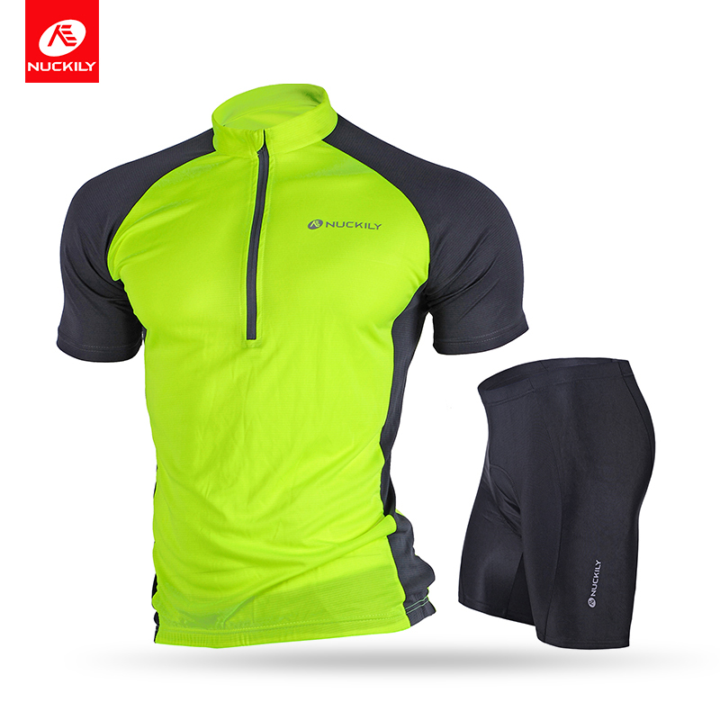 NUCKILY Men's Cycling Jersey And 3D Gel Pad Shorts Set Summer Classic Short Sleeve Bicycle Shirts Lightweight Tights NJ601NS355 woman badminton shirt sportswear jersey shorts set female table tennis sports jersey shirts and shorts for woman and girls