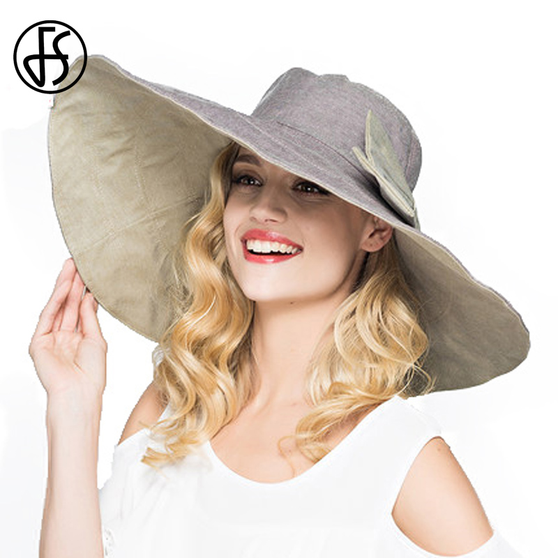 76d4cbb8f35c4 FS Flodable Ladies Large Wide Brim Floppy Summer Sun Hats For Women With  Bowknot Gorras Beach Visor Caps Gray Pink Blue-in Sun Hats from Apparel  Accessories ...