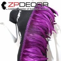 Tight! ZPDECOR Wholesale 1yard/150pcs 30 35CM Purple Chicken Coque Feather Fringe Trim for Carnival Costume Decoration