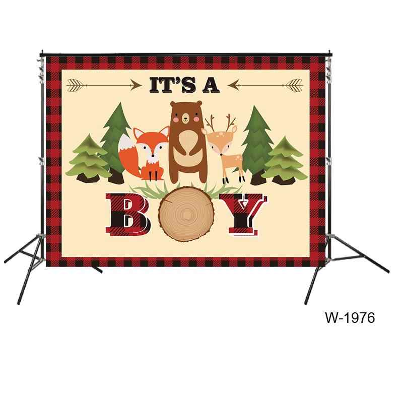 Woodland Theme Baby Shower Backdrops Its A Boy Babyshower Party Banner Background Cake Dessert Table Wallpaper Decors