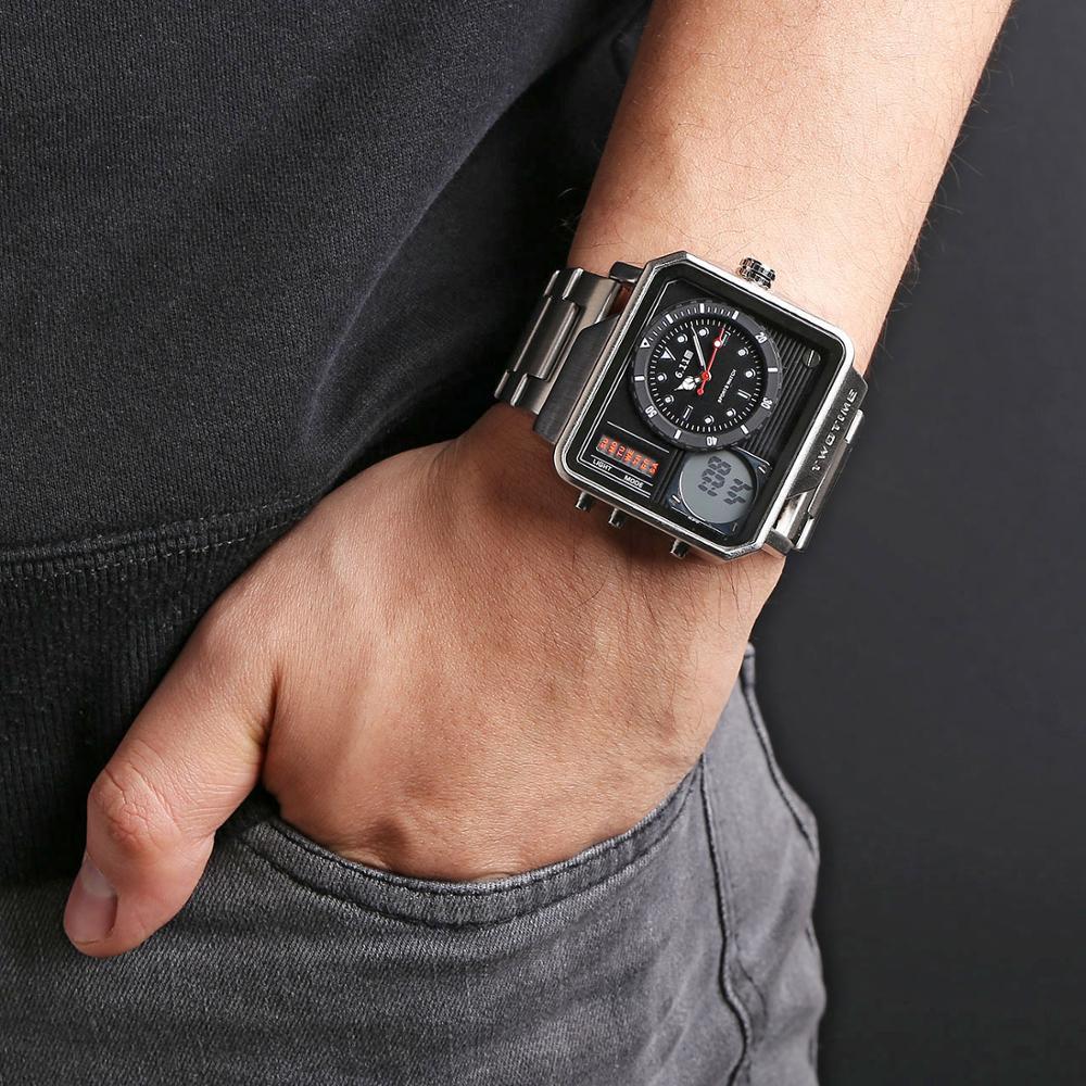 Digital de Aço Completo à Prova Moda Masculina Duplo Tempo Display Led Relógio Dbacklight Água Backlight Esporte Masculino 6.11 2020