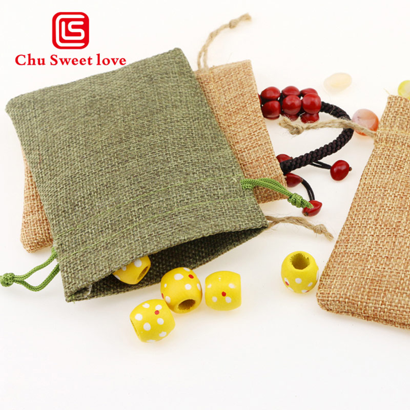 9 * 12cm Linen Drawstring Bags Jewelry Pouch Christmas Wedding Gifts Bags Drawstring Bag Packing 50pcs