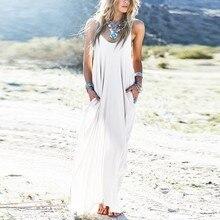 3 Colors Sundress Beach Vestidos 2020 Summer Women Dress Strapless Sexy V neck Sleeveless Baggy Long