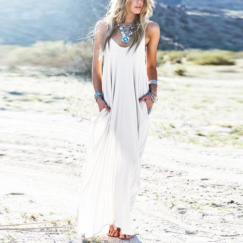 3 colores Vestidos de playa de verano 2018 vestido de mujer bohemio sin tirantes Sexy cuello en V sin mangas holgado largo Maxi Vestidos de talla grande