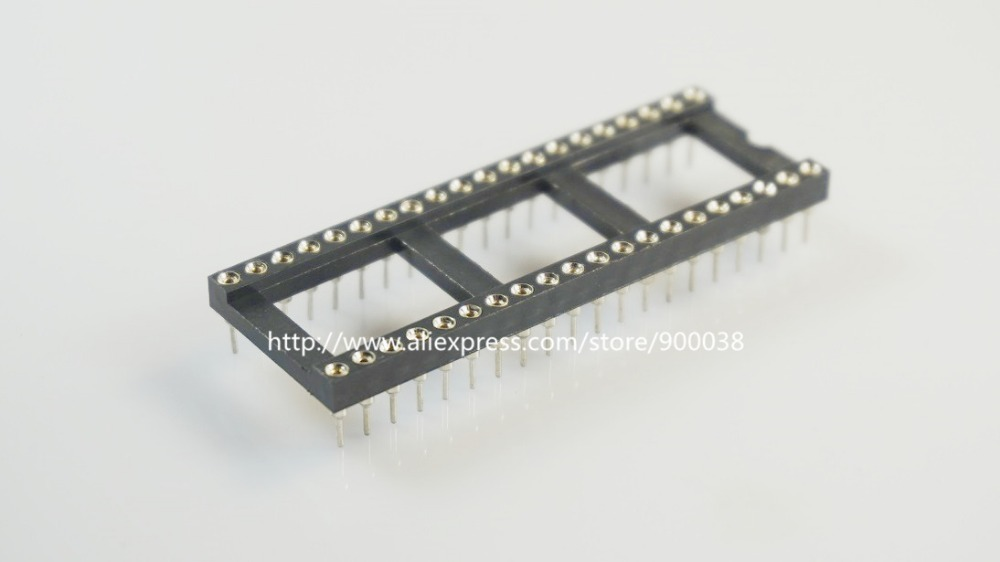 50pcs 0.100 2.54mm Pitch IC socket 40 Position 2x20 Pin machine Pin Row spacing 15.24mm bar Tin plate DIP Through hole solder