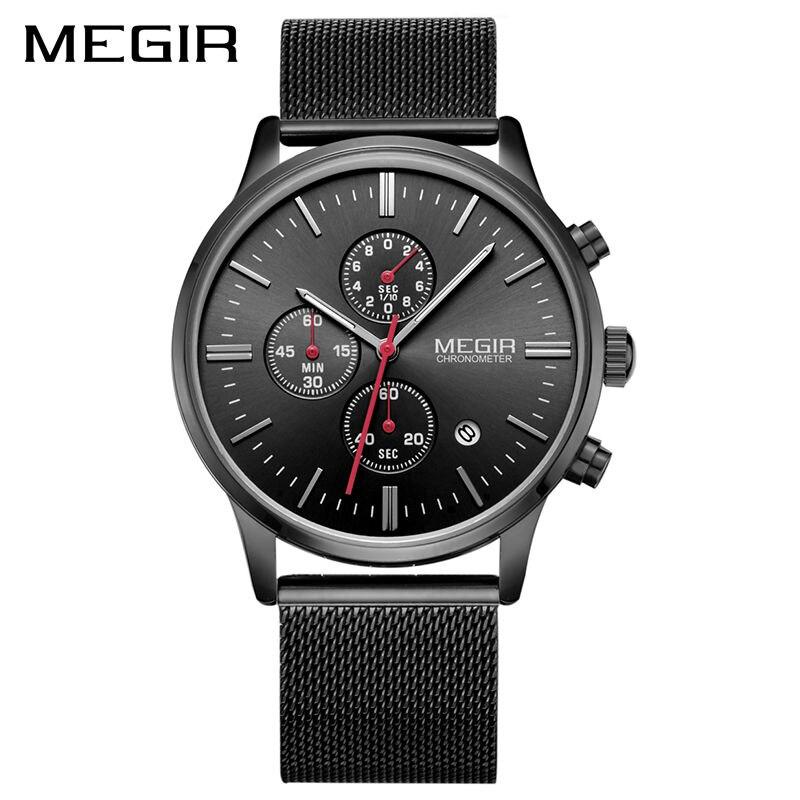 224c294b1d50 Reloj MEGIR Original relojes para hombre marca de lujo elegante reloj de  los hombres correa de malla de acero inoxidable cronógrafo militar reloj de  cuarzo