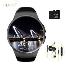 2016อุปกรณ์สวมใส่kw18 smart watch android/iosดิจิตอล-นาฬิกาบลูทูธinteligente simรอบheart rate monitorนาฬิกานาฬิกา