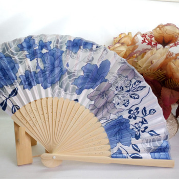 Portable Fan Japanese New Style Women's Hand Held Folding Fan No. 8 Beautiful Cherry Color Satin Fan with Bamboo Frame