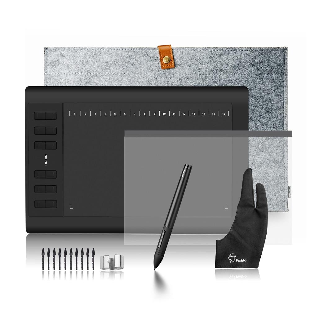 Huion 1060 Plus Graphique Dessin Numérique Tablet avec 8G SD Carte 8192 Stylo Pression + Film Protecteur + 15 Sac De doublure + Gant