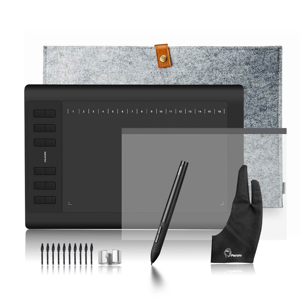 """Huion 1060 Plus Graphic Drawing Digital Tablet with 8G SD Card 8192 Pen Pressure+Protective Film+15"""" Liner Bag+Glove-in Digital Tablets from Computer & Office    1"""