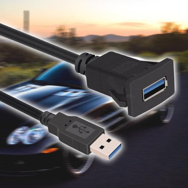 VODOOL 1m/3.3ft Single Port USB Panel Flush Mount Cable USB3.0 A Male to USB3.0 A Female Car Mount Extension Cable