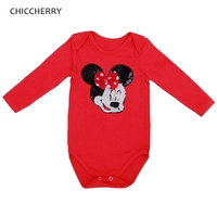 Bright Paillette Minnie Head Red Newborn Baby Girl Clothes Long Sleeve Bodysuit Roupa Infantil Body Bebe