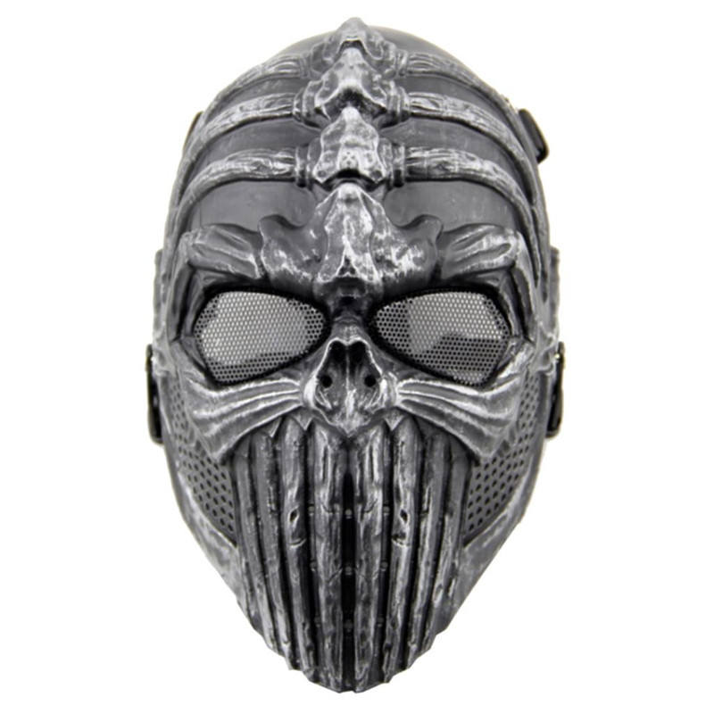DC07 Skull Skeleton Spine Tingler Full Face Protective Tactical Airsoft Mask Military Army Paintball Wargame Halloween Party