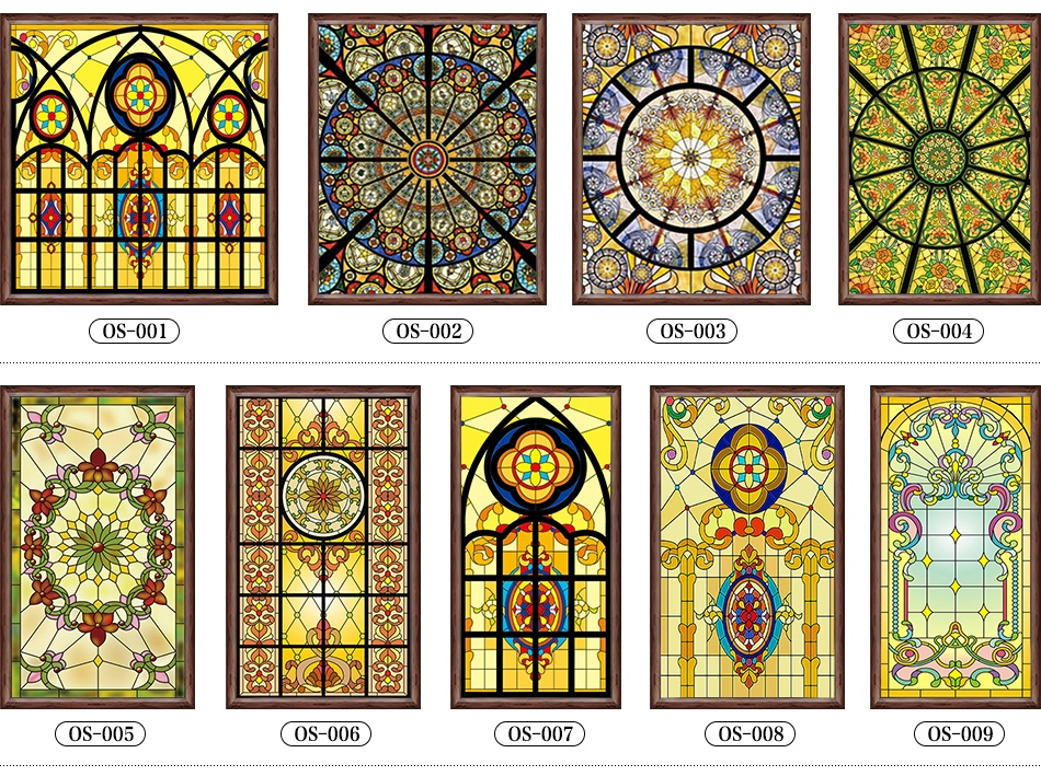 Custom Size European style window fim electrostatic stained glass window film frosted church home doors foil stickers 80cmx100cm