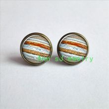 ES-00309    Jupiter Earrings Planet eardrops Universe Galaxy Science stud earrings Jewelry Earrings glass Cabochon Earrings