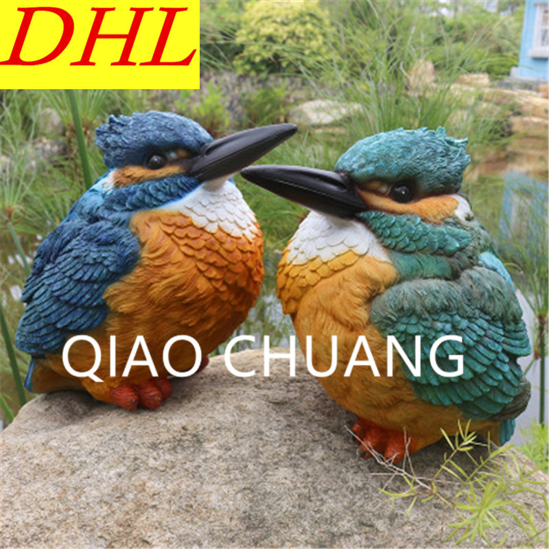 Simulation Lovers Birds Kingfisher Sculpture Colophony Crafts Doll Garden View Furnishing Articles G1065Simulation Lovers Birds Kingfisher Sculpture Colophony Crafts Doll Garden View Furnishing Articles G1065